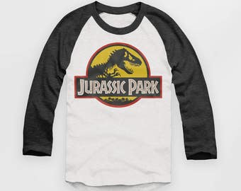 Jurassic Park - Vintage Look Baseball Jersey - Raglan Top - T Shirt  - S M L XL