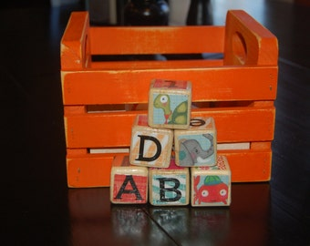 Wooden Blocks with Crate