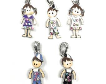 Child Pendant, Boy pendant, Girl Pendant, Boy and Girl Charms Pendants Jewelry Making Crafts Boys Girls