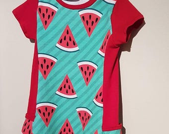 Then dress 18 month old daughter made tunic up to 3 years watermelon with Pocket on side