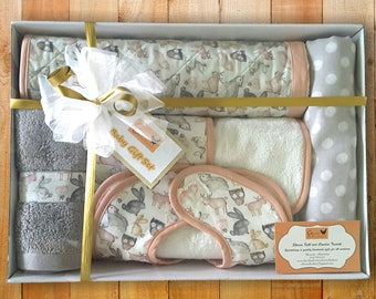 New Baby Gift, Baby Shower Gift Set Animals Grey Pink Muslin Wrap Change Mat Bib Burp Cloth Face Towel, Gift for New Parents, Baby Girl Gift