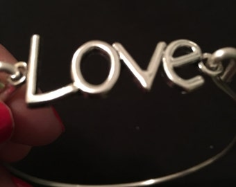 Silver LOVE Bangle Bracelet