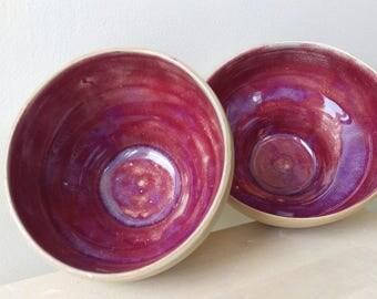 2 small maroon ceramic stoneware bowls