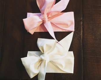 Big Bow Headwrap Duo- Pink and Bone White