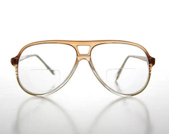Diopter 2.75 Retro Bifocal Aviator Magnifying Vintage Reading Glasses Clear/Brown - Indie