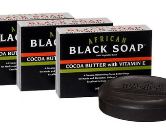 African Black Soap Cocoa Butter with Vitamin E (Qty -3)
