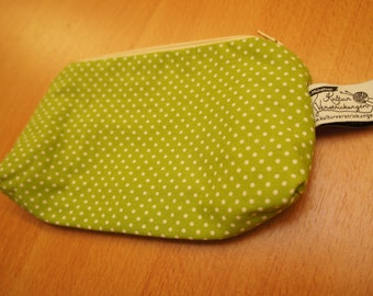 Cosmetic bag small, Polkadot print white/light green pink floral lining, spotted