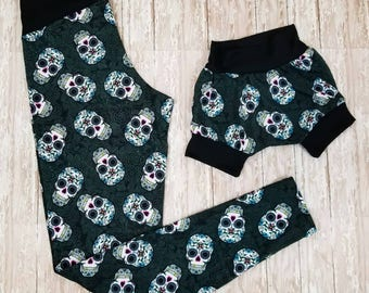 Mommy leggings and matching grow with me shorties, mommy and me set, matching outfit, toddler shorts, sugar skull leggings