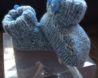 Hand Knitted baby boys booties/bootees baby gift
