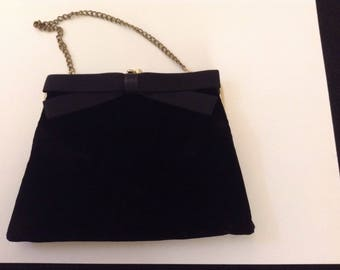 Vintage Velvet Evening Purse / Silk Bow