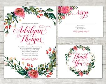 Watercolor Flower Wedding Invitation, peach Floral Invite, flower wreath invite, Flower Wedding Invite, Watercolor Flower, Garden Wedding