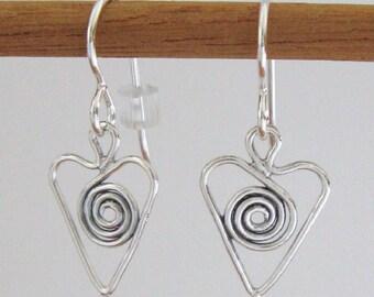 Sterling Silver Spiraled Heart Earrings