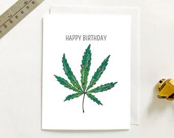 Happy Birthday Hemp Pot Mary Jane Green Marijuana Weed Paisley 420 Greeting Card