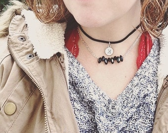 Black Suede Choker with Initial Charm and Stone Details