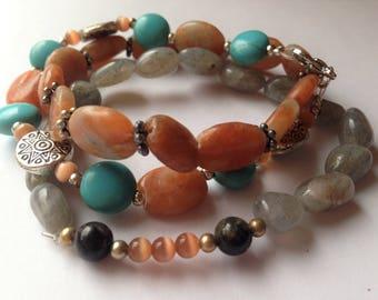 Bohemian Stacking Bracelets, Turquoise, Silver, Jasper