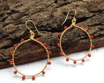 Wire Wrapped Beaded Coral Beaded Round Dangling Earrings With 22k Yellow Gold Plated Handmade Jewelry