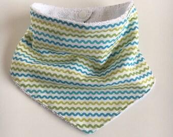 Bandanna Bib - Blue and Green Wavy Stripes