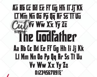 Godfather inspired svg font, svg letters, Godfather svg cut files, cutting files, svg, dxf, Silhouette, cricut - Scrapbooking Die Cuts