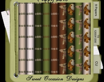 Puppy Love Papers,   Nature,Scrapbook, Card Making Elements