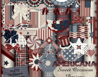 Americana, Patriotic, Independence, July 4th,Scrap Book, Scrapbooking Kit