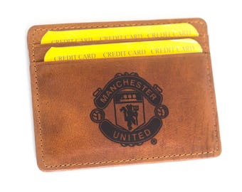 Manchester United Real Leather Credit ID Business Card Holder Oyster MU logo