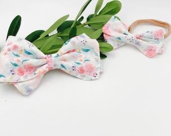Baby Girl Sailor Bow Headband - Nylon Headbands - Hair clip - Infant / Toddler /  Hair Bows / Clips - Mermaid lagoon