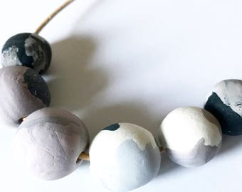 Marble and Cocoa Necklce
