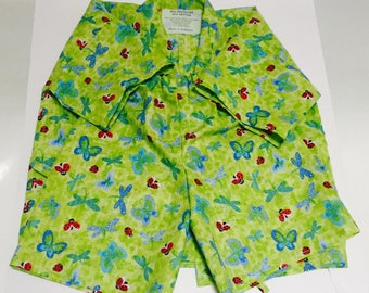 Children Japanese kimono style casual wear (Jinbei), two-pieces, yellow-green, bugs, butterflies, ladybug, adjustable, no buttons, comfort