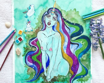"ORIGINAL watercolor painting-""Wera with unicorns"""