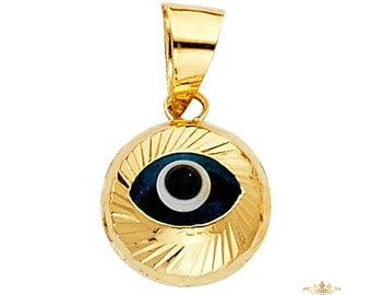 evil eye pendant, Evil Eye Pendant, 14K Yellow Gold Evil Eye Fluted Pendant - Free Shipping
