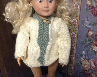 Cream Sweater with Light Green Hood 18 Inch DoLl