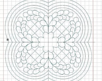"""Echoquilting feather embroidery file"" for quilt and AcuFil tool, Quiltmedaillon,"