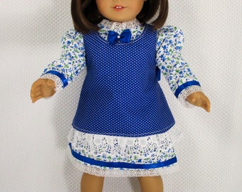Dress For 18 inch Doll, Doll Clothes, Calico Dress, Fits American Girl, Springfield, Madame Alexander, Historical Clothing, Free Shipping
