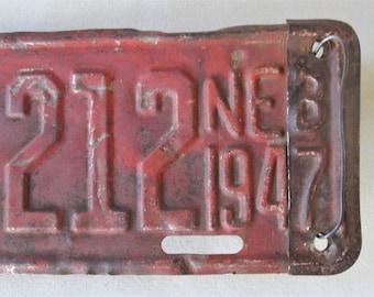 "Rare Vintage ""Farm Fresh"" Original 1947 Nebraska License Plate Number 68-X212"