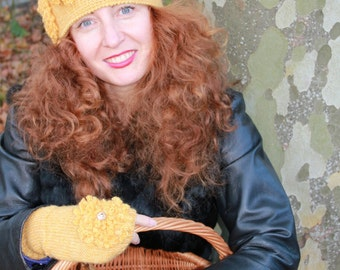 Yellow Alpaca Hat & mittens