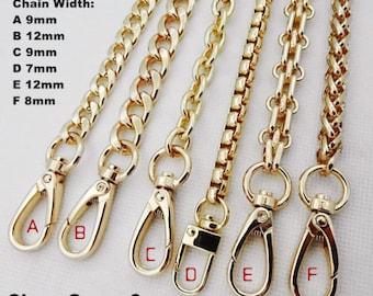 1pcs Golden Metal Replacement Chain Shoulder Strap Aluminum Chain twist links Purse clutch bag wallet handbag snap clasp Crossbody