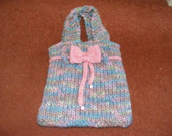 Cute Kawaii Baby Unicorn Hand Knitted Tote Bag. Pastel Colours with Bow, Beads and Button.