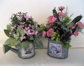 Floral Arrangement Pink Lavender Foliage in Vegetable Pail and Watering Can Your Choice or Both Small 3-Sided Faux Silk Artificial