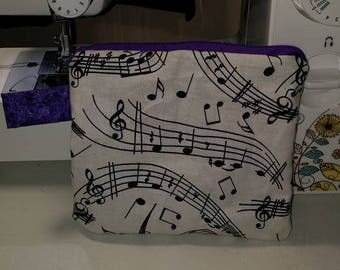 Music Note and Sparkly Purple Zippered Pouch