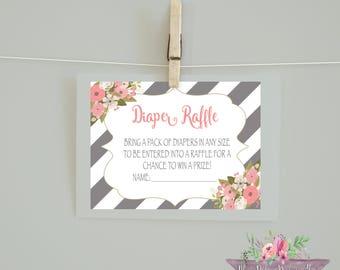Diaper Raffle/ Diaper Raffle Game/ Watercolor Flowers/Coral Gray Diaper Raffle