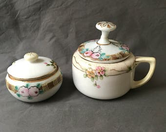Vintage Nippon Hand Painted Sugar Bowl and Small Condiment Dish