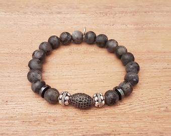 Unisex bracelet, Matt Elegant-21, mottled Agates.