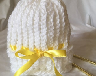 Ready to ship-Handmade Knitted Newborn Hat; Knitted Baby Hat, Knit Baby Hat; Handmade Baby Gift; Baby Gift Idea