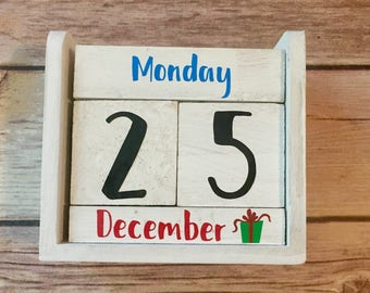 Holiday Block Calendar Hand Painted Rustic Wood Block, Perfect for Christmas, Vinyl Lettering, Rustic Desk Calendar, Perpetual Calendar