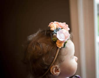 Felt Flower Crown Headband//Blushing Girl