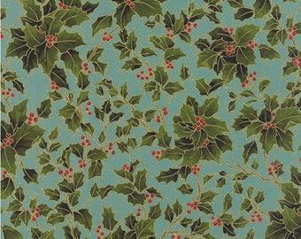 Moda Fabrics Holly Night Frost Aqua Metallic by Sentimental Studios - Sold by Half Yard