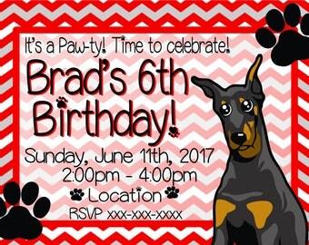 Doberman Kids Birthday Invitation