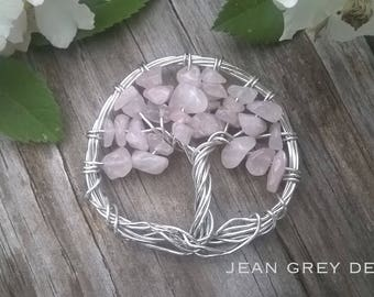 Rose Quartz Tree Of Life Necklace