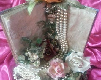 Recycled books tea cup roses and pearls