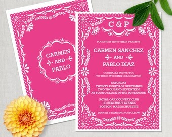 Wedding Invitation Template, Mexican Papel Picado Wedding Invitation, DIY  Editable Wedding Printable Template,